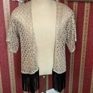 My Story Gold Lace Black Fringe Knit Open Shawl